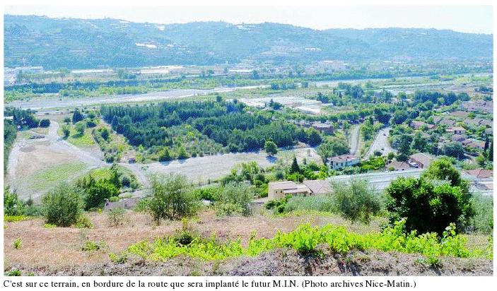 Emplacement prévu du futur MIN d'Azur à La BARONNE, commune de La Gaude 06610