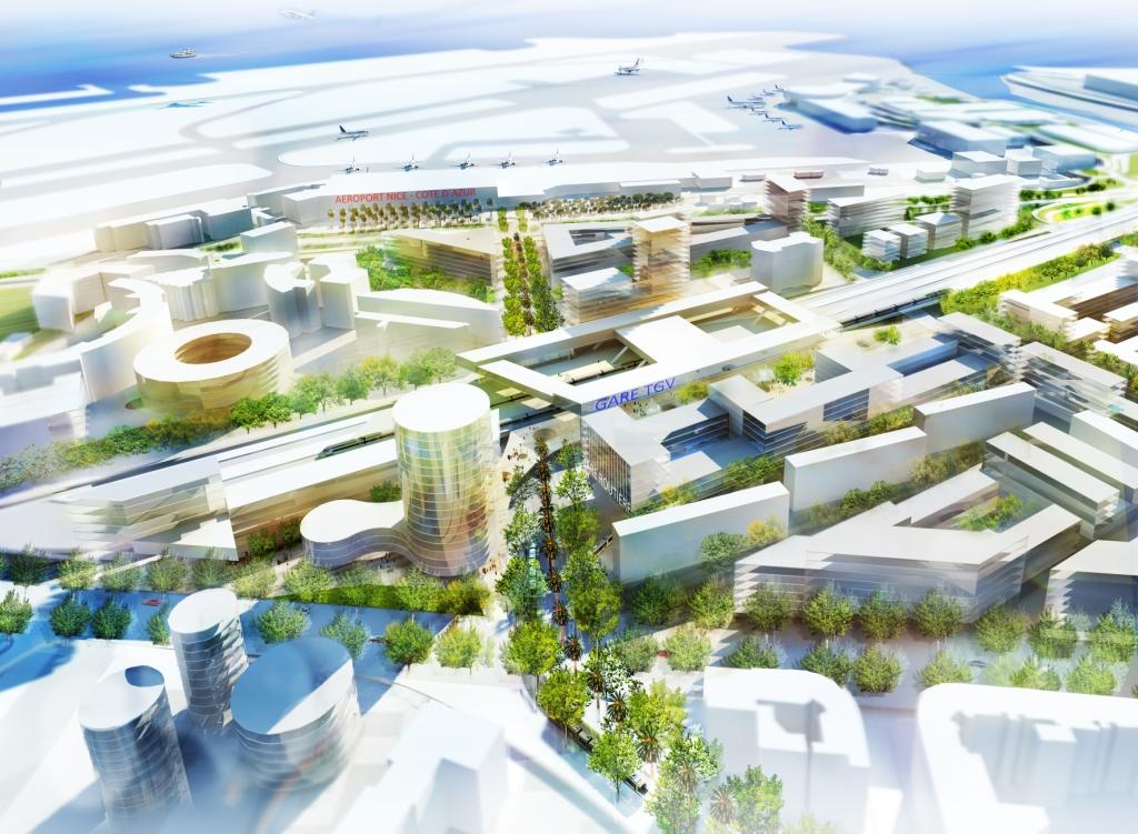 centre international d'affaires Grand Arénas, Pole d'échange multimodal (PEM), Parc d'exposition (PEX) - vue nord sud ©2012 EPA-dpMipim