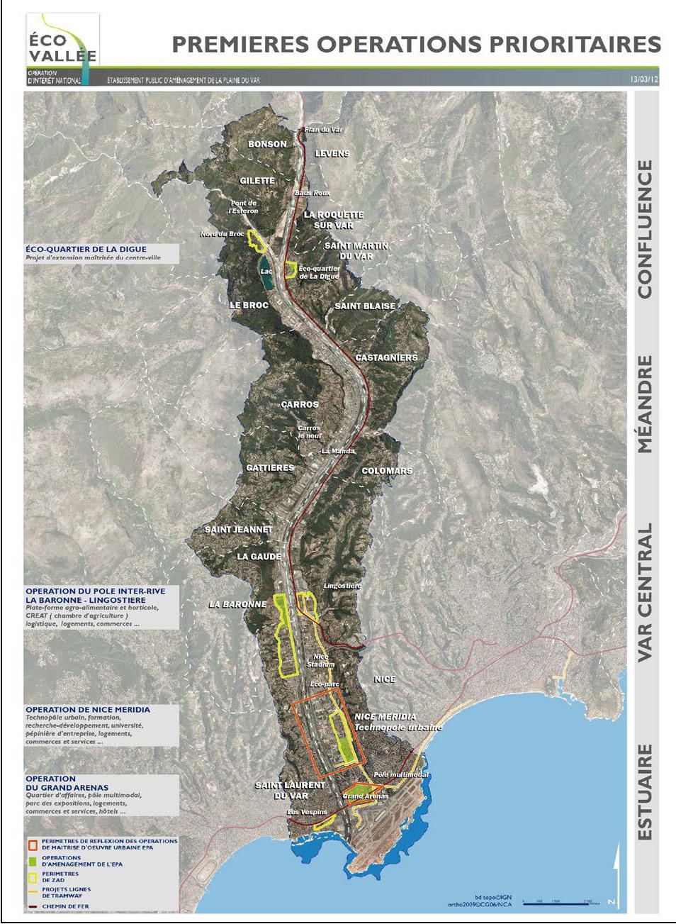 carte: Premières opérations prioritaires Eco-Vallée (2012-11)