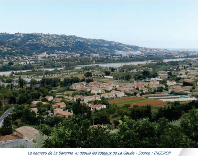 Le hameau de La Baronne vue depuis les coteaux de La Gaude ©Ingérop