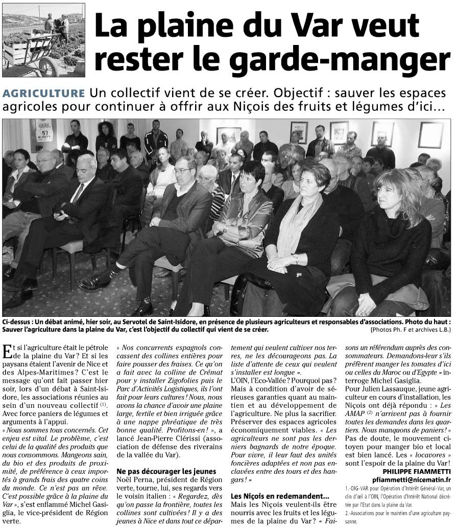 La plaine du Var veut rester le garde manger -2011-03 Nice-Matin