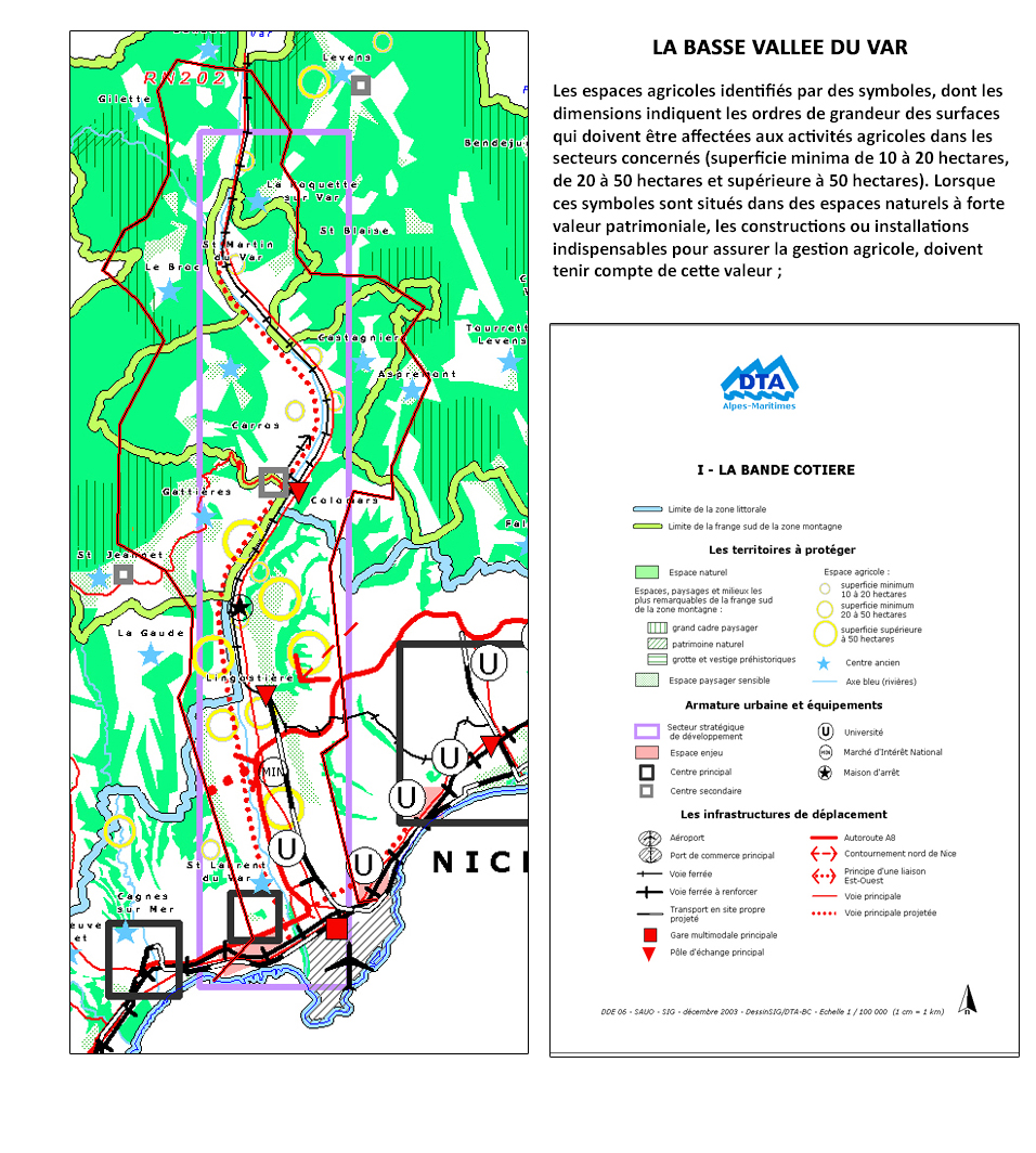 12/2003: carte de la bande côtière - BVV Basse Vallée du Var - Alpes-Maritimes 06