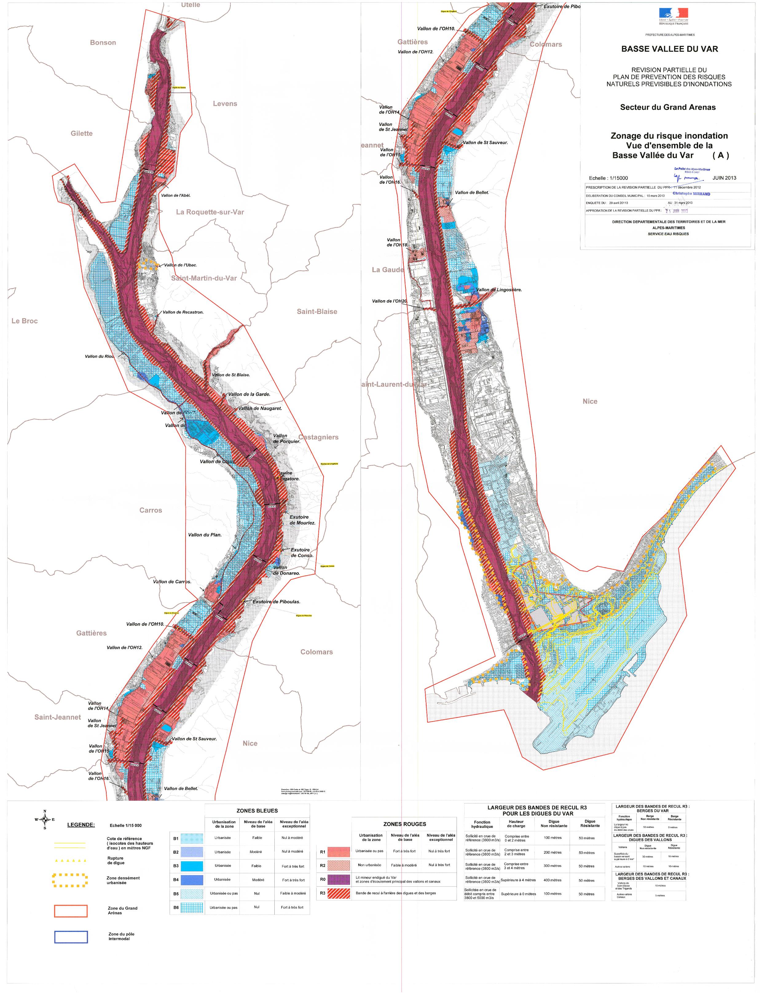 2013-06: Zonage du risque inondation - Vue d'ensemble de la Basse vallée du Var - PPRI
