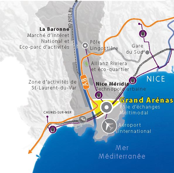 carte: Localisation: Grand Arénas - Pôle échange Mulimodal (PEM/Aéroport) - Nice Eco-Vallée, Plaine du Var, Alpes-Maritimes 06 (201409)